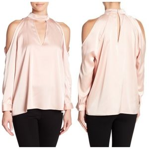 ANTHRO | YUMI KIM satin pink cold shoulder top